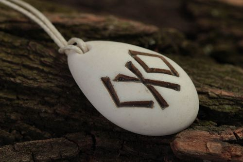 Handmade resin pendant accessory with runes polymer resin jewelry for men - MADEheart.com