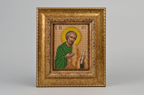 Beautiful handmade Orthodox icon embroidered with beads in frame for wall decor - MADEheart.com