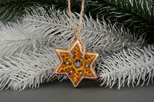Handmade decorative hanging unusual New Year figurine cute Christmas toy - MADEheart.com