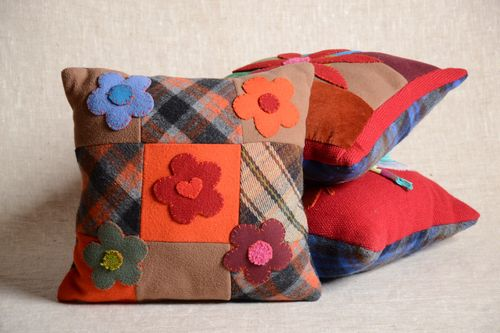 Beautiful handmade soft textile sofa pillow with pillowcase and with zipper Flowers - MADEheart.com