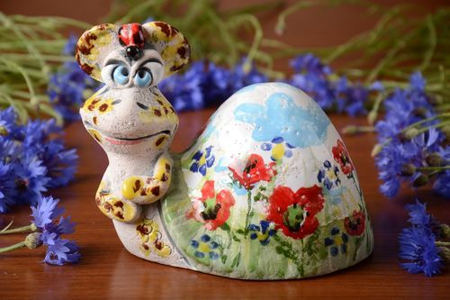 Unusual handmade ceramic money box with painting beautiful colorful Snail - MADEheart.com