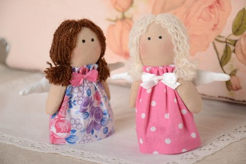 Set of 2 handmade collectible fabric dolls soft rag doll nursery design - MADEheart.com