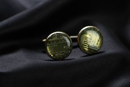 Unusual cufflinks for shirt with microcircuits - MADEheart.com