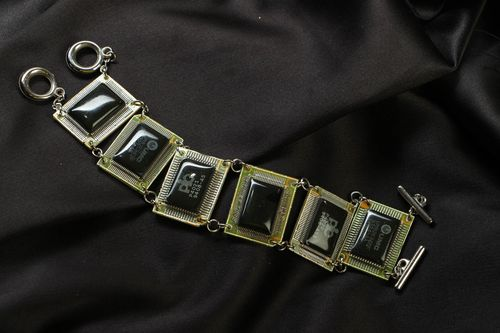 Wrist bracelet with microcircuits in cyberpunk style - MADEheart.com