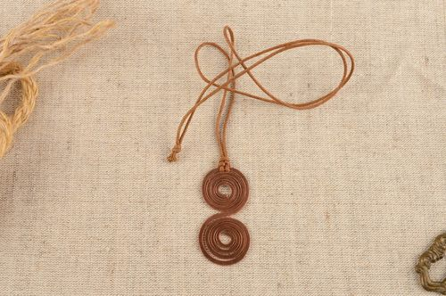 Handmade designer copper pendant with cord beautiful jewelry - MADEheart.com