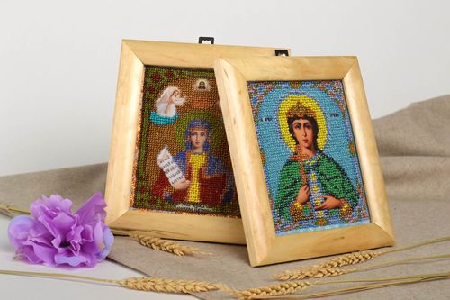 Handmade icon of saints orthodox icon set of family icons 2 items religious gift - MADEheart.com