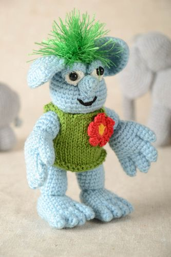 Unusual crocheted soft toy stylish toy with flower handmade toys for kids - MADEheart.com