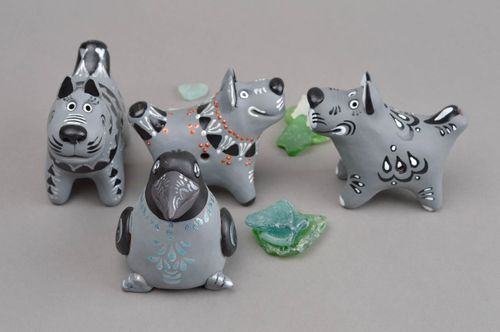 Handmade ceramic souvenirs 4 stylish bright penny whistles clay toys for kids - MADEheart.com