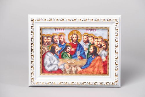 Bead embroidered icon The Lords Supper - MADEheart.com