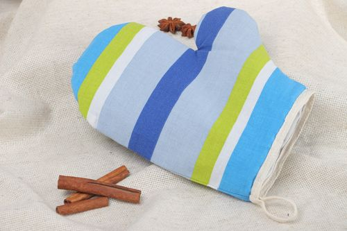 Bright colorful handmade oven mitt sewn of striped cotton fabric for kitchen - MADEheart.com