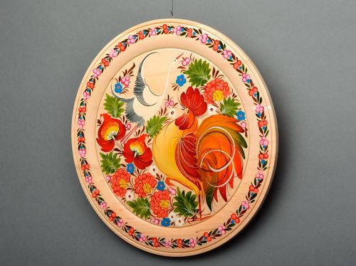 Decorative plate, petrikov painting - MADEheart.com