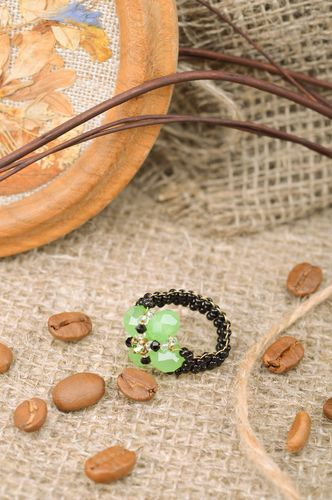Beautiful handmade beaded ring in the shape of green flower - MADEheart.com