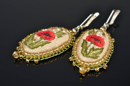 Earrings with embroidered poppies - MADEheart.com