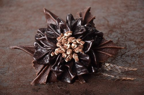 Handmade elegant hair clip designer beautiful hair clip leather accessory - MADEheart.com