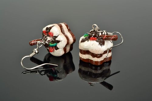 Polymer clay earrings Cakes - MADEheart.com