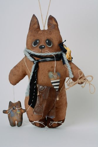 Brown scented handmade soft toy imbued with coffee for decor Cat - MADEheart.com