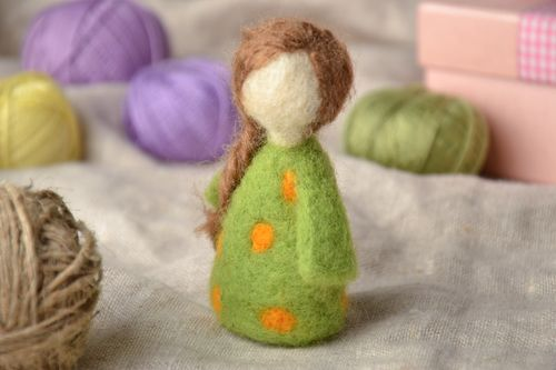 Wool felted soft toy Girl - MADEheart.com