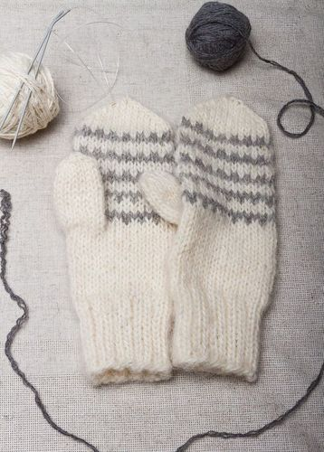 White knitted mittens with grey ornament  - MADEheart.com