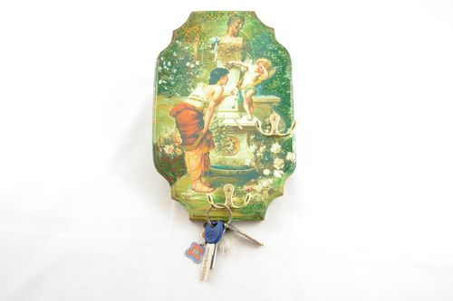 Decoupage towel hanger Fountain and Angel - MADEheart.com