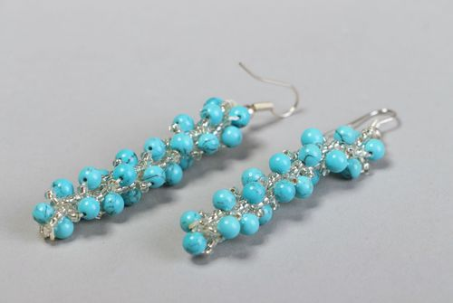 Long earrings made of beads with turquoise - MADEheart.com