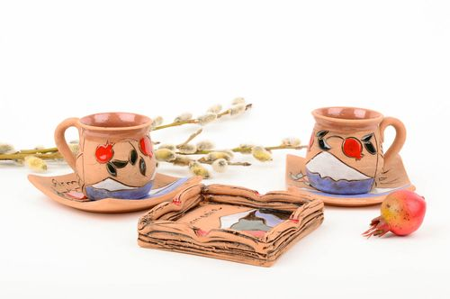 Beautiful handmade coffee set clay cup ceramic saucer ceramic ashtray clay craft - MADEheart.com