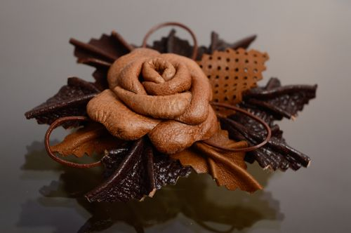 Handmade genuine leather brooch-hair clip Coffee Rose - MADEheart.com
