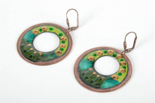 Round Earrings Made of Copper Bridge - MADEheart.com
