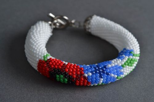 Beautiful festive handmade designer beaded cord bracelet Poppy and Cornflower - MADEheart.com