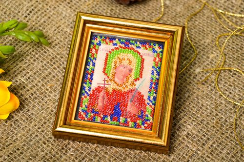 Handmade embroidered icon designer orthodox icon beautiful gift for believer - MADEheart.com