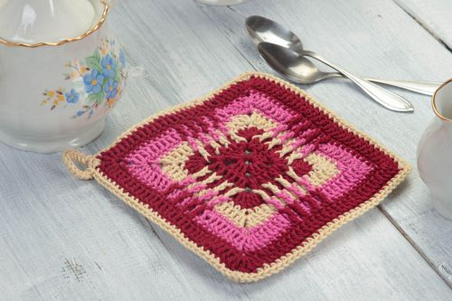Unusual handmade pot holder decorative crochet potholder the kitchen gift ideas - MADEheart.com