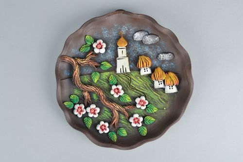 Ceramic wall plate Blooming Cheery - MADEheart.com