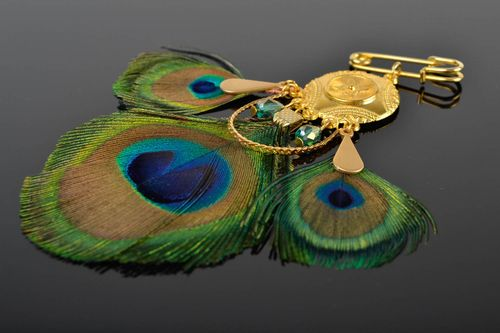 Handmade peacock feather brooch designer unique bijouterie present for woman - MADEheart.com