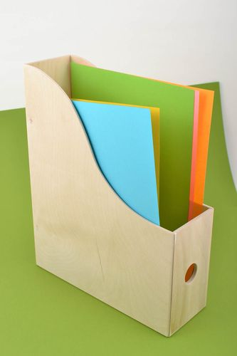 Beautiful handmade designer DIY magazine holder plywood blank for creative work - MADEheart.com