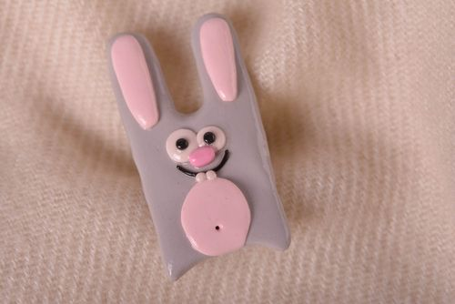 Handmade lovely brooch unusual beautiful jewelry stylish bunny accessory - MADEheart.com