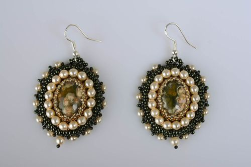 Handmade oval shaped festive dangling earrings embroidered with beads and jasper - MADEheart.com