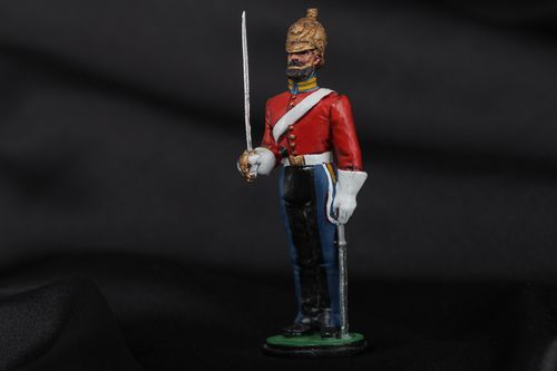 Handmade collectible painted miniature tin figurine of British cavalry soldier  - MADEheart.com