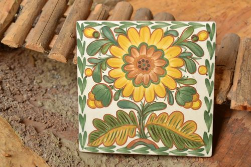 Handmade decorative ceramic tiles painted with engobes with flower wall panel - MADEheart.com