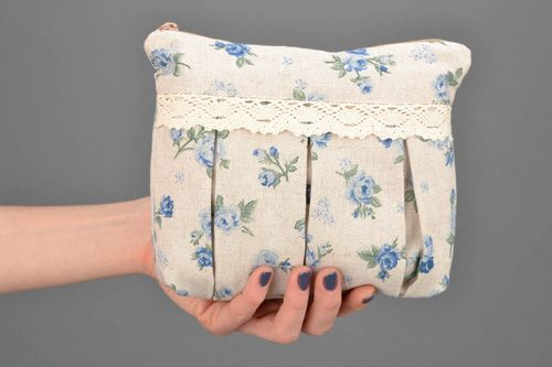 Fabric beauty bag with print and zipper Blue Rose - MADEheart.com