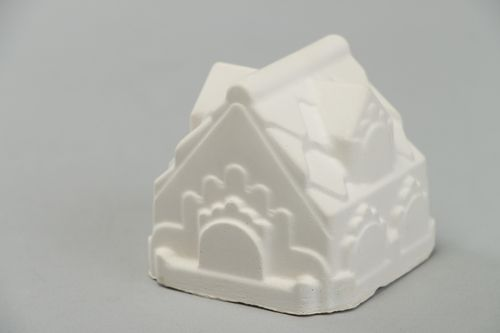 Handmade plaster blank figurine of house for painting - MADEheart.com