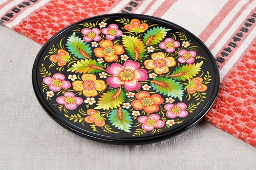 Handmade wooden designer plate unusual painted plate decorative use only - MADEheart.com