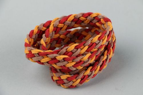 Suede bracelet of autumn shades in Up Helly Aa style - MADEheart.com