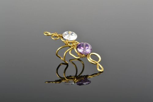 Middle inner ear cuff with crystals - MADEheart.com