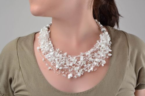 Handmade cute light airy white necklace made of beads and natural stones - MADEheart.com