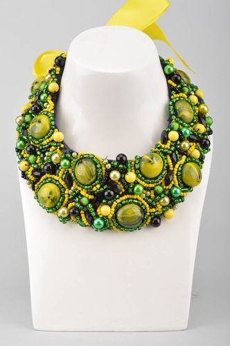 Handmade yellow and green necklace made of large and seed beads on ribbon  - MADEheart.com