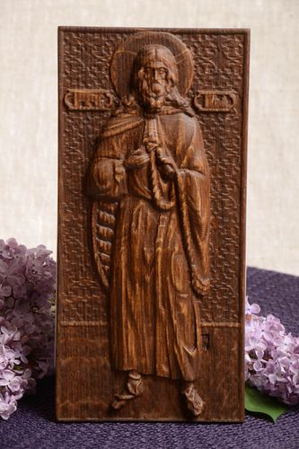Handmade orthodox icon of St Elijah the prophet carved wooden wall panel - MADEheart.com