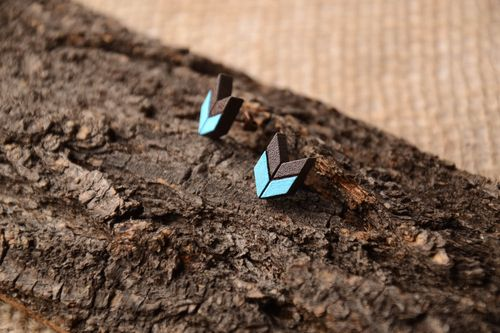 Stylish handmade stud earrings wooden earrings wood craft cool jewelry - MADEheart.com