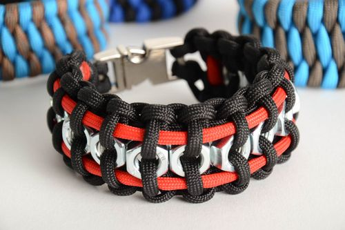 Unusual black and red woven paracord bracelet with metal nuts and fastener handmade - MADEheart.com