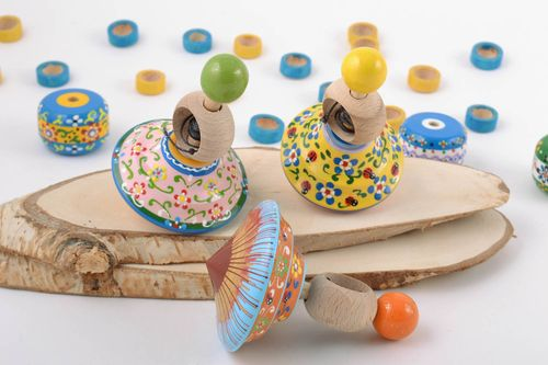 Set of 3 handmade wooden eco painted bright spinning top toys for children - MADEheart.com