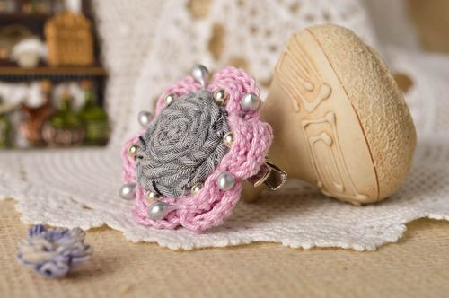 Unusual handmade flower brooch stylish hair clip accessories for girls - MADEheart.com