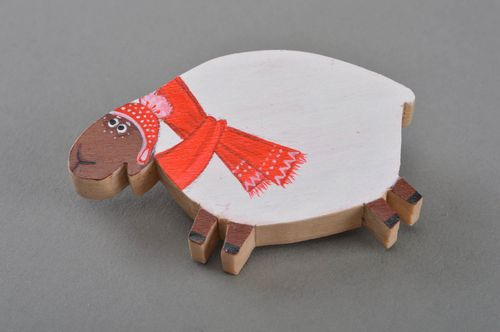 Nice handmade designer painted plywood brooch in the shape of sheep  - MADEheart.com